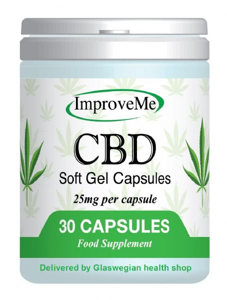 CBD Oil 25mg in each Capsule - 30s (Improve Me) Hemp/Cannabis + Free Delivery